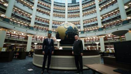 Cumhurbaşkanı Erdoğan, Katar Emiri Al Sani ile Millet Kütüphanesi'ni gezdi