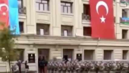 Türk askeri Azerbaycan'da! Marşlarla sokakları inlettiler