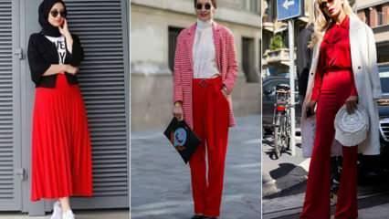 Kırmızı renk  nasıl kombinlenir? Kırmızıya uyumlu renkler nelerdir Kırmızı giymenin püf noktası