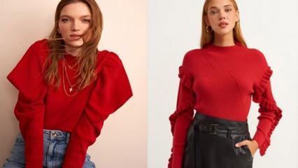 En güzel kırmızı kazak modelleri 2021! Kırmızı kazak nasıl kombinlenir?