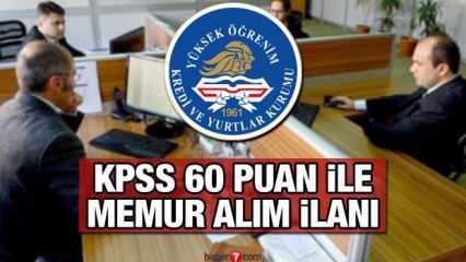 KYK en az 60 KPSS puan ile 500 memur alım ilanı! Başvuru için son 2 gün