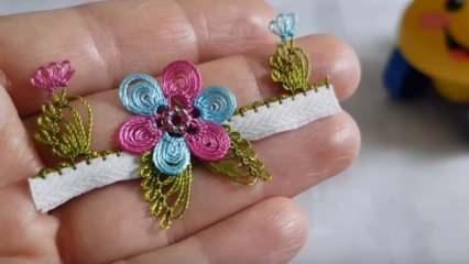 En kolay çiçek motifli iğne oyası havlu kenarı modelleri