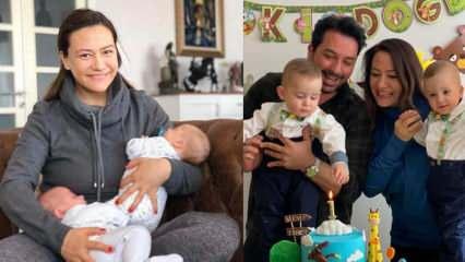 Ünlü sunucu Ezgi Sertel ikizleri Mert ve Tibet'lerin doğum gününü kutladı