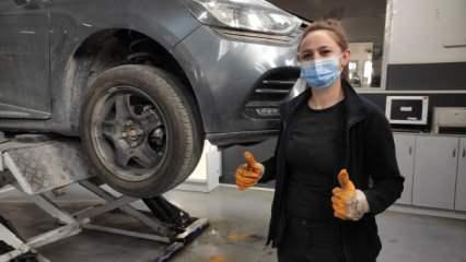 18 yıldır araba tamir ustası olan 25 yaşındaki genç kadın Burcu Aşkın görenleri şaşırtıyor