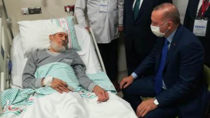 Erdoğan'dan Fethi Sekin'in babası ile kanaat önderi Nazırlı'ya hastanede ziyaret