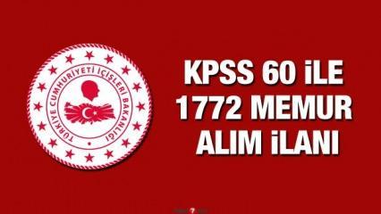 KPSS 60 puan ile 1772 memur alımı! Başvuru için bugün son!