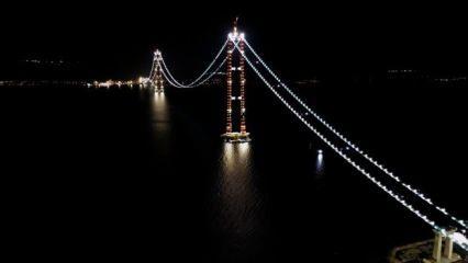 Çanakkale Köprüsü'ndeki 'kedi yolu' aydınlatmaları havadan görüntülendi!