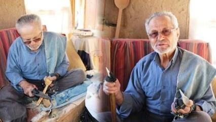 74 yaşındaki kaşıkçı Sakarya'da 60 yıldır baba ve dede mesleği olan kaşıkçılığı sürdürüyor!