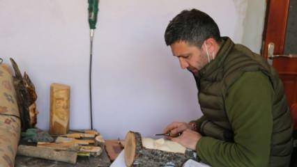 Sobada yakmak için aldığı odunlarla yeteneğini keşfetti, sanat eserleri üretiyor!
