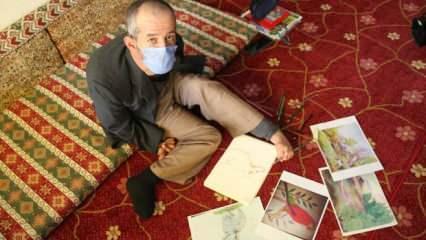 Sağlıkçıları alkışlayamayınca tek ayağıyla resimlerini çizdi!