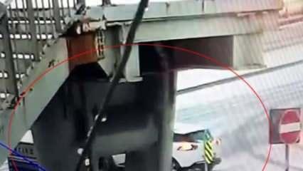 Şişli'de kayan aracın refüje çarpması kamerada