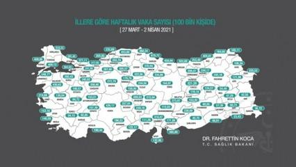 İllerin haftalık vaka haritası açıklandı! İstanbul'da büyük artış!