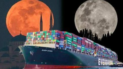 Süveyş Kanalı'nı tıkayan gemiyi 'Süper Solucan Ay' kurtarmış