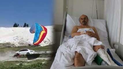 Paramotor pilotu zemine çakıldı! Kazadan şans eseri kurtuldu