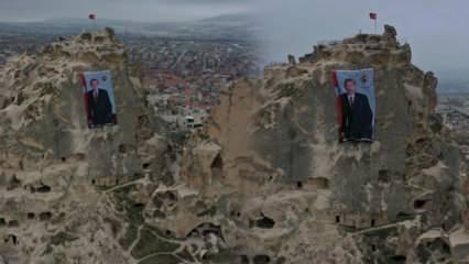 Nevşehir'de dünyanın en yüksek peribacasına dev Cumhurbaşkanı Erdoğan posteri asıldı
