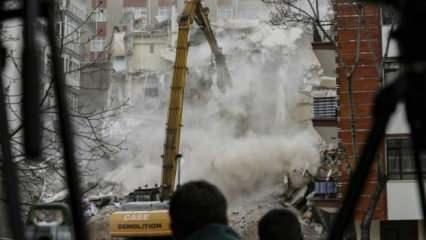 Açelya Apartmanı'nın kontrollü yıkım çalışmaları sürüyor