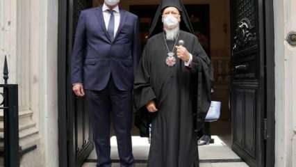 Yunanistan Dışişleri Bakanı Dendias, Bartholomeos ile görüşüyor