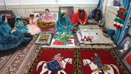 Kaşkay Türk kadınları göç yolunda geleneksel halı dokuyorlar