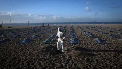 Sahilde ceset torbalarıyla mesaj verdiler! Ülkede ölü sayısı 400 bini aştı
