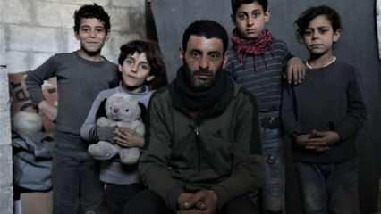 Suriye'de evsiz kalan baba, çocukları için yardım bekliyor