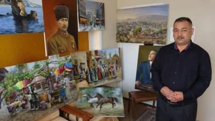 Evini atölyeye çevirdi, yaptığı resimleri sosyal medyadan satıyor!