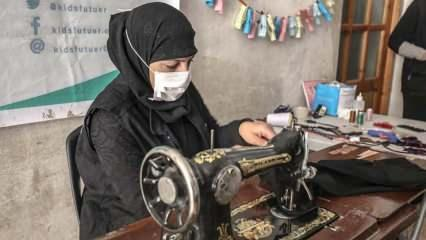 İdlibli gönüllü terzilerin onardığı kıyafetler çocuklara bayramlık oluyor