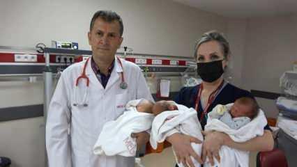 Trabzon'da doktorları bile şaşırtan üçüzler dünyaya geldi