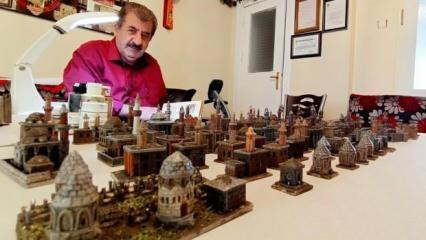 Erzurum'da maket sanatçısı şehrin 40 adet maketini yaptı