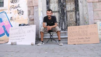10 liraya dert dinliyor, kendisini ağlatana 100 lira veriyor