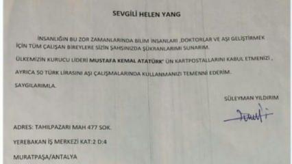 Antalyalı mali müşavirden aşı üreticisi Sinovac'a teşekkür mektubu!