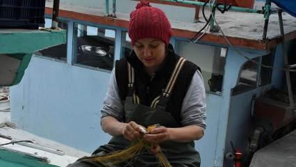 Karadenizli kadın balıkçılar yıpranan ve yırtılan ağların onarımını yapıyor
