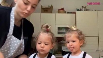 Pelin Akil'in ikiz kızlarıyla başı dertte! Video çekerken...