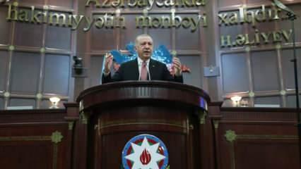 Azerbaycan Meclisi'nde Erdoğan'dan son dakika tarihi rest: Bütün dünya bilsin ki...