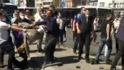 Seyyar satıcılarla zabıtayı polis ayırdı! O anlar kameralara yansıdı