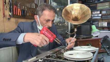 Erzurum'da yarım asırdır gramofon ve plakçalar tamir ediyor!