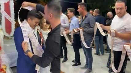 Antalya'da beşlik lakaplı damada düğününde arkadaşları bin tane 5 TL taktı!