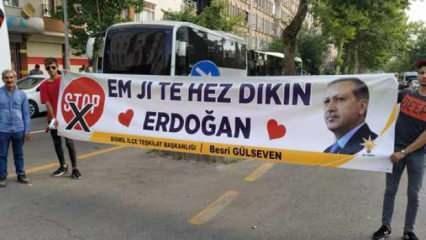 Cumhurbaşkanı Erdoğan'a açılan 'Kürtçe' pankart dikkat çekti