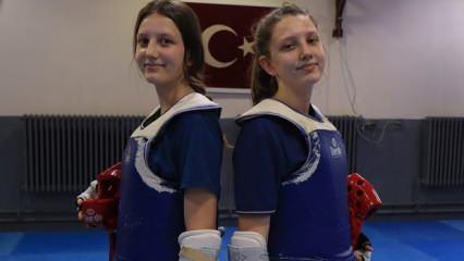 Kırklarelili ikiz tekvandocuların hedefi olimpiyatlarda mücadele etmek