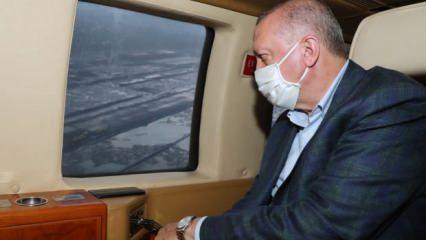 Erdoğan'ı taşıyan helikopter hava muhalefeti nedeniyle Rize'ye indi