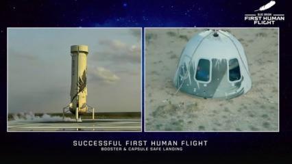 Jeff Bezos'un tarihi uzay yolculuğu tamamlandı! İşte o anlar...