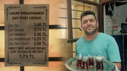 Mersin'de bir çaycı, çayın fiyatını müşterilerin hitabına göre belirliyor!