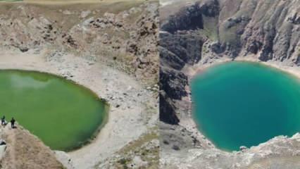 Sivas'ta endişelendiren görüntü! Kuraklık gölün rengini değiştirdi