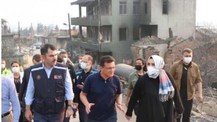 Antalya Milletvekili Sena Nur Çelik, Bakan Kurum'la birlikte yangın bölgesinde