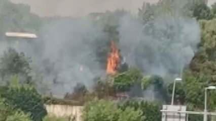 Esenler'de askeri kışladaki ağaçlık alanda yangın