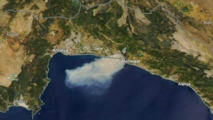 Manavgat'taki yangın uydudan görüntülendi! Korkunç manzara