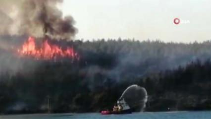 Muğla'daki orman yangınları için gemiler de devreye girdi