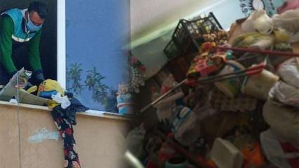 Sakarya'da 60 yaşındaki kadının yalnız yaşadığı evden 4 kamyon çöp çıkarıldı
