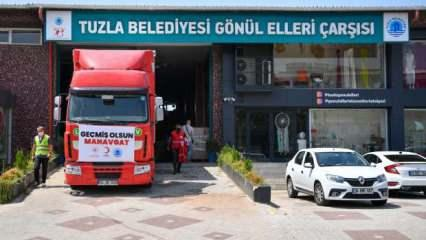 Tuzla'dan Manavgat'a yardım tırları ve su tankerleri yola çıktı