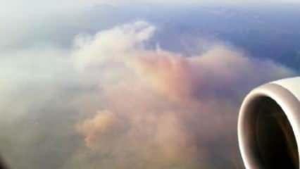 Manavgat'taki büyük yangın uçaktan görüntülendi