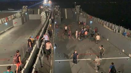 Milas'taki vatandaşlara çıkarma gemileriyle tahliye